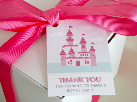 Princess printable - Princess Favor Tags - birthday - Castle - Printable Party - Fairy Tale - girl birthday - Pink - Purple - DIY