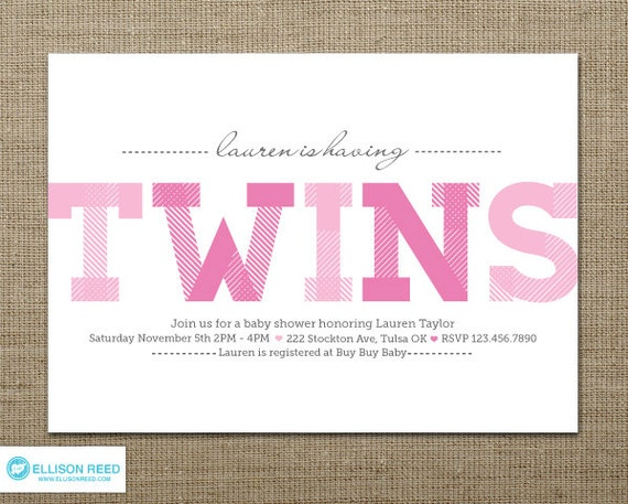 Items Similar To Twins Baby Shower   Twins Baby Shower Invitation   Twin  Girls Invitation   Printable Baby Shower   Twins Printable   Pink   Boy    Girl On ...