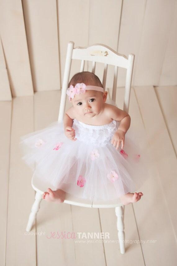 Dainty Darlings Signiture  TuTu... Infant TuTu...Toddler TuTu... Photo Prop...Rhinestone Flower Accents.... Pink... Purple...Orange....Blue