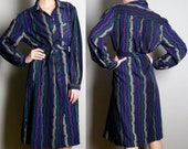 Sale - Dress Vintage Geometric Linear Print - Fall hipster retro