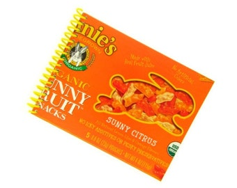 BUNNY FRUIT SNACKS packaging recycled spiral bound journal notebook