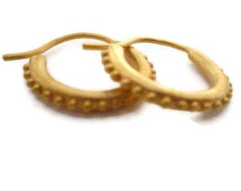 14K Solid Gold Hoop Earrings, Mini Hoops, Small Huggie Hoop Earrings Artisan Handmade  by Sheri Beryl