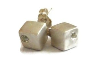 Silver Cube Studs, White Sapphire Stud Earrings, Small Square Earrings, ARTISAN HANDMADE by Sheri Beryl