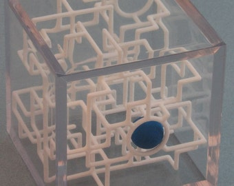 3D Rolling Ball Maze Pirate Puzzle in Clear Cube - Bare Bones
