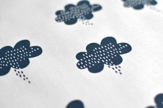 stormy weather in storm on bone handprinted fabric panel dark blue french navy