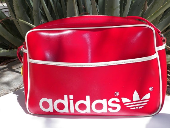 Vintage Adidas Duffle Bag. Tote. 70s. Red. Gym Bag. Back to School. Book Bag.. Carry On Luggage