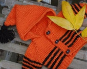 "Bamboletta 15"" Waldorf doll Halloween sweater with hood and spider buttons"