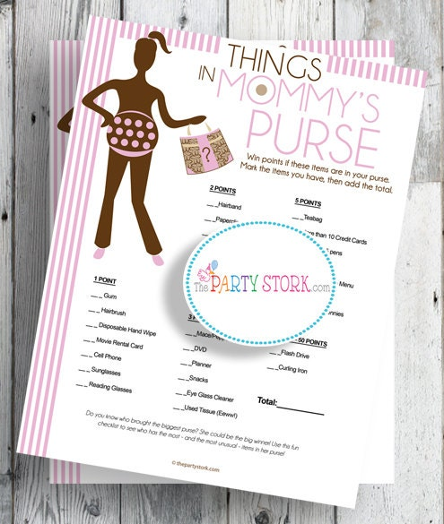 baby shower games things in mommys purse pink for girl