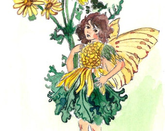 ACEO Limited Edition 1/25- The Ragwort fairy inspired by CM Barker,  in watercolor