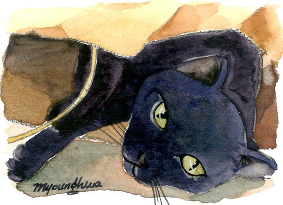 ACEO Limited Edition - Black cat, in watercolor