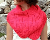 READY-TO-SHIP Hand-knitted Red Lacy Cozy Scarf - Shawl