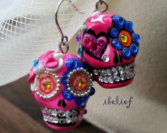 Skull in a-day is the day of the dead skulls pink love earrings stone ES0085