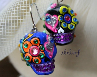 Skull in a-day is the day of the dead skulls black love blue earrings stone ES0087
