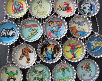 Super Hero Retro  Bottle Cap Party favors (16)  add on more for 2 dollars each / choose  images you want / Valentine stickers upon request