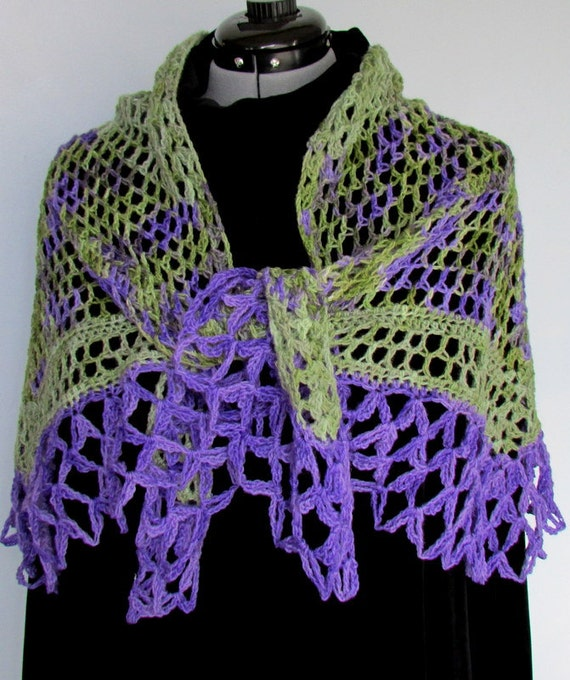 Purple and Green Shawl crocheted Scarf lace wrap handmade 100% wool