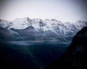 Large Wall Art-Misty Fog in the Swiss Alps-Smokey Blue-Snow Capped Mountains-Gothic-Switzerland-Fine Art Photography- 16x20