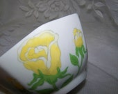 Fitz & Floyd Bowl Yellow Rose Bowl Vintage Porcelain Bowl Yellow Roses