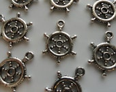 CLEARANCE 24 Pieces Wheel Rudder Nautical Charm Antique Silver Finish Tibetan Style