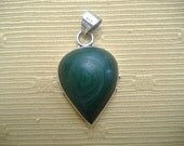 Malachite Sterling Silver Inverted Teardrop Large Vintage Pendant