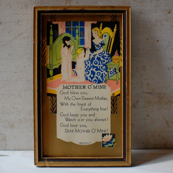 Mother O Mine Art Deco Motto Vintage Print Poem Framed 1930s