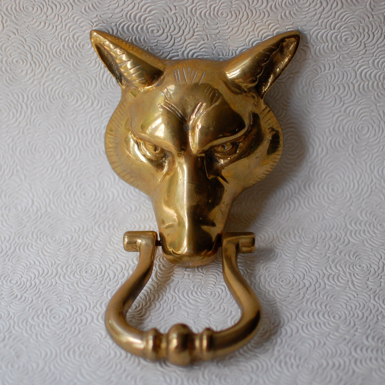 Brass door knocker vintage fox head - Antique brass door knocker ...