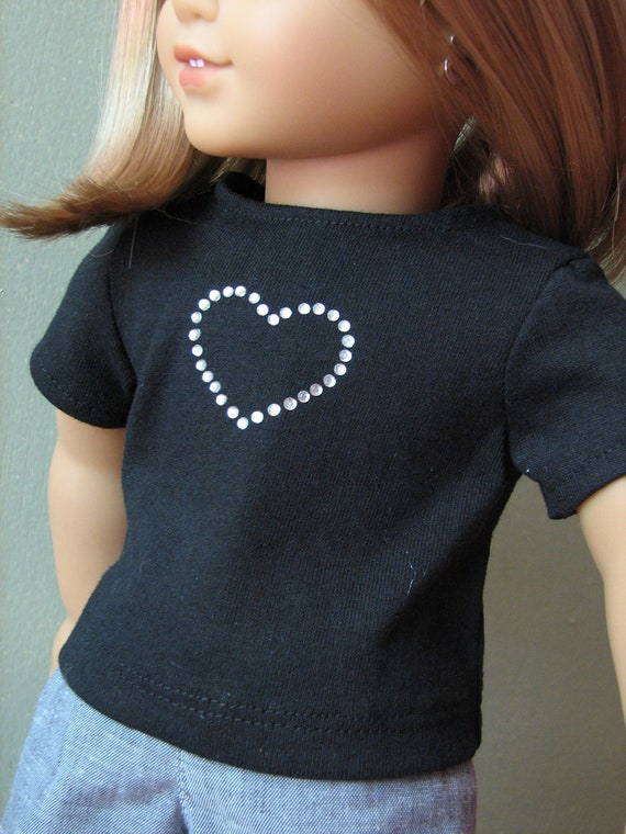 "CIJ - American Girl Doll Clothes / 18"" Doll Clothing - Black T-Shirt with Rhinestone Heart - FREE SHIPPING"
