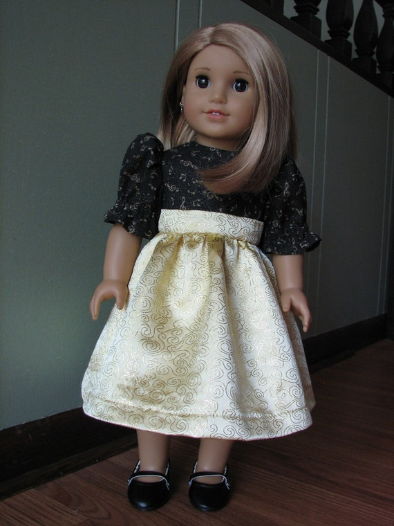 "American Girl Doll Clothes / 18"" Doll Clothes - Formal Recital Dress / Black and Gold Musical"