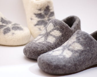 Felted wool clogs set of 2 pair - handmade natural organic wool slippers - all sizes