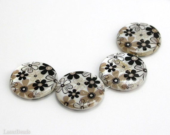Shell Beads 30mm (4) Printed Brown Beige Flower MOP Mother of Pearls Natural Coin Flat Round Large Disc