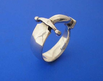 Silver Dagger Knife Ring , Hand Made Solid Silver