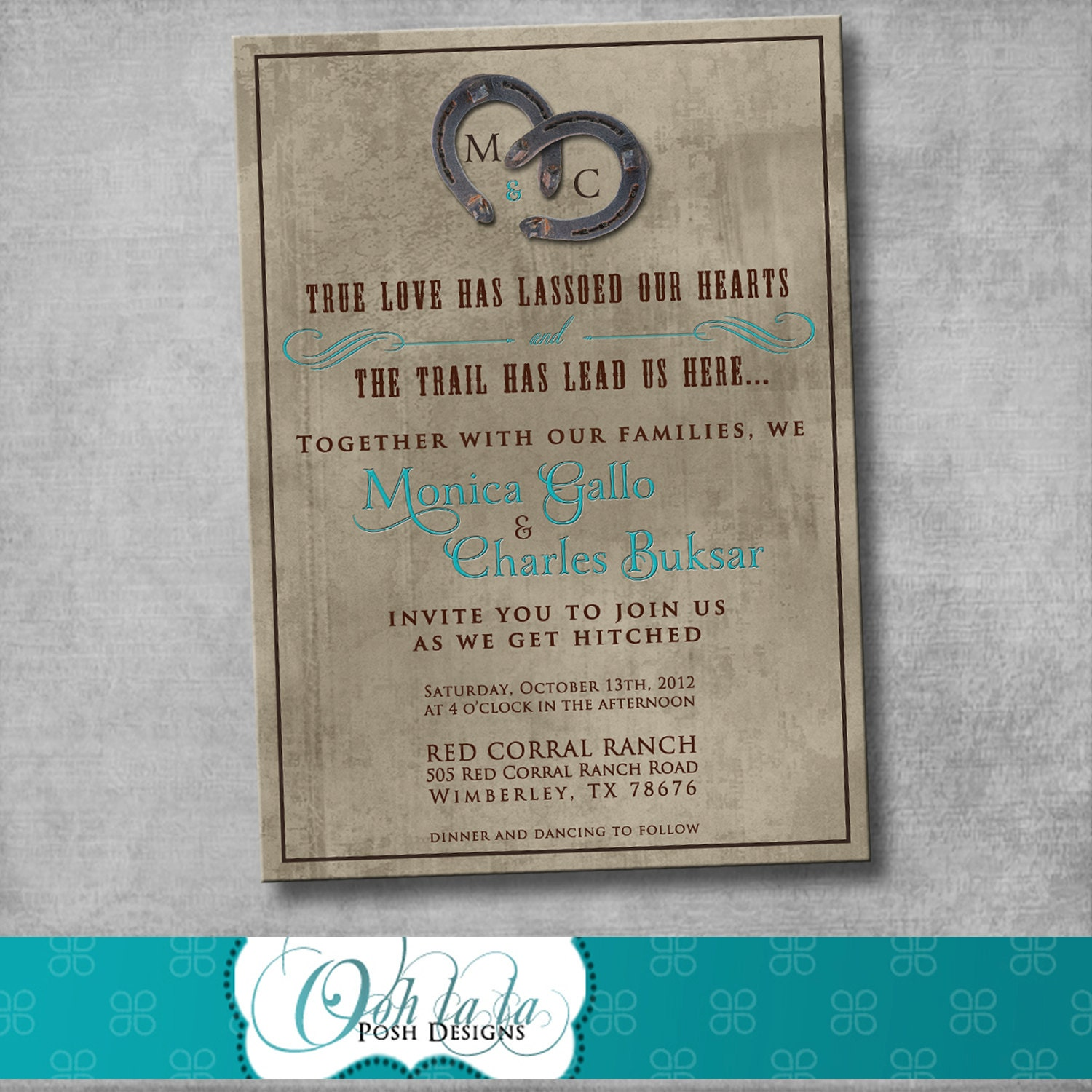 Rustic Charm Wedding Invitation DIY By OohlalaPoshDesigns