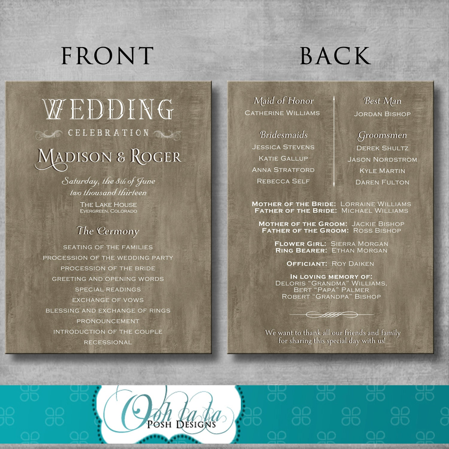 rustic elegant wedding program diy by oohlalaposhdesigns