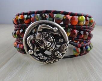 Court Jester or Joker Leather Beaded wrap bracelet With Confetti Czech Glass Beads