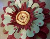 OOAK  Fantasy Flower Repurposed Vintage Button Polka Dot Paper