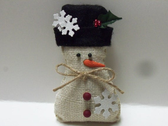 Burlap snowflake snowman ornament by shabbyseasonsdecor on for Snowman made out of burlap