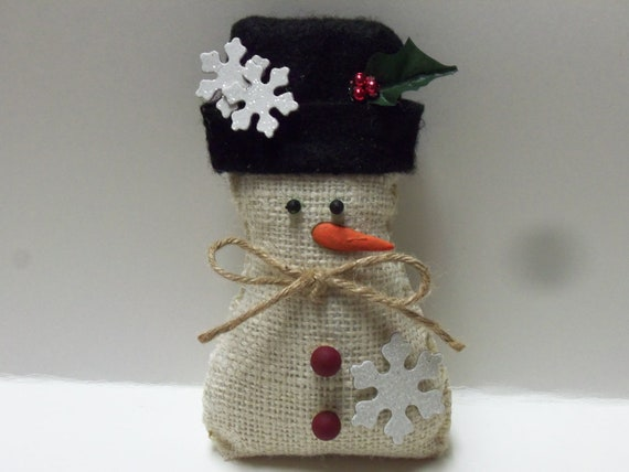 burlap snowflake snowman ornament by shabbyseasonsdecor on