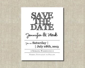 Printable Save the Date Card - Handdrawn font - Black and white - Custom Colors