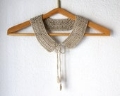 Crochet Peter Pan Collar beige, Charis, in natural color detachable fashion