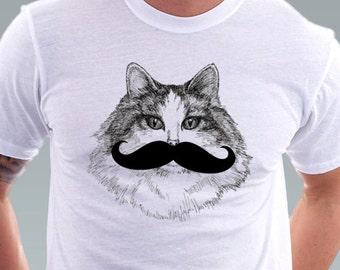 Mustache Moustache tshirt Hipster Mustache Moustache Geek Cat Kitty Cat Shirt Pet Animal Art Men T-Shirt - White Tee S, M, L, XL, XXL