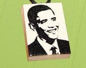 President Barack Obama - Necklace Pendant Polymer Clay - OOAK
