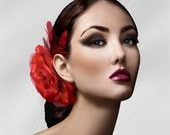On Sale - Fascinator Head Piece With Flower and Feathers - by Mr. Song