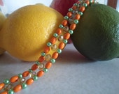 Orange Lemon Lime Delight Crystal Pearl and Wooden Beadwoven Bracelet w/ snap clasp