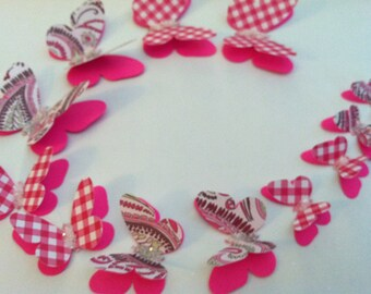 3D butterflies, wall butterflies, assorted butterfly silhouettes(Hot pink with glitter)