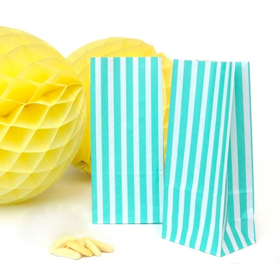Tall Striped Paper Bags