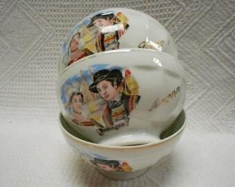 Lot of 3 Vintage French Limoges Porcelain Brittany Café au Lait Bowls (A542,3,4)