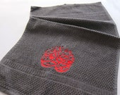 Towel with Arabic Embroidery- Dark Grey with Red