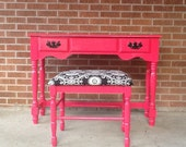 Sassy Pink vintage Vanity/Desk and  large matching stool