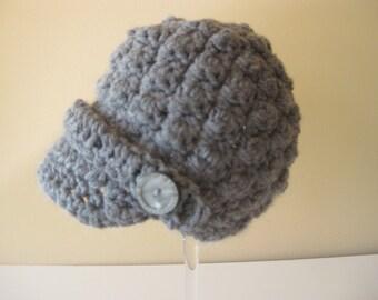 Crochet Baby Hat Newsboy Photo prop brim grey gray boy girl infant
