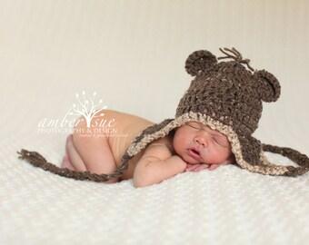 Crochet Baby Hat brown tweed earflaps ears braided ties photo prop Monkey Bear Animal