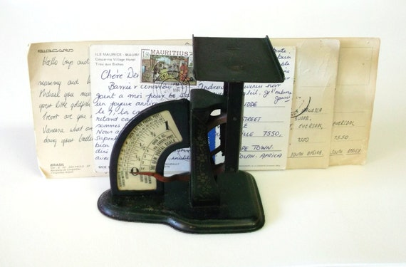 The Gem Postal Scale,  Small Vintage Postal Scale, Black Scale with Floral Design, Vintage Office